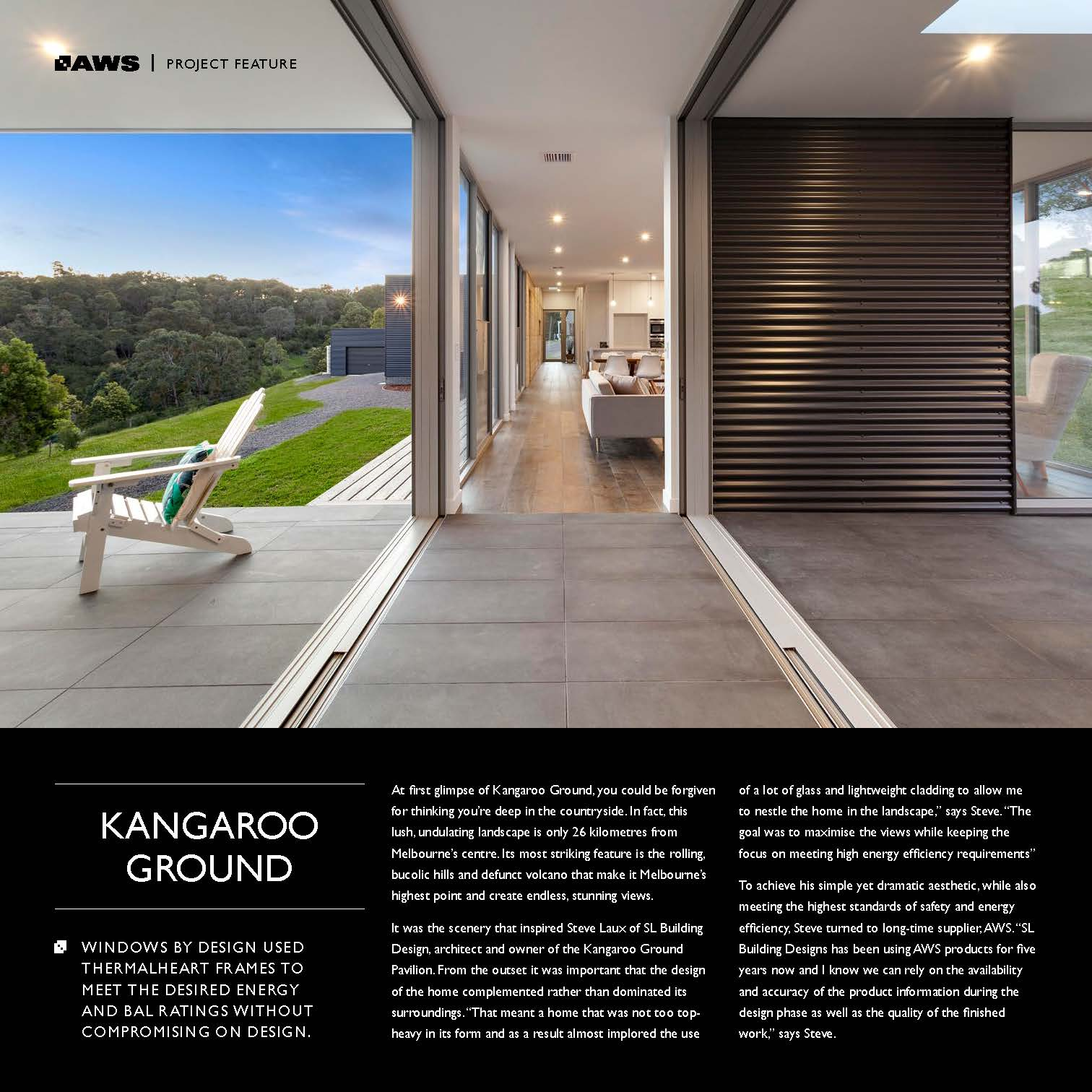 Page 1, AWS Kangaroo Ground project feature of Steve Laux Building Design